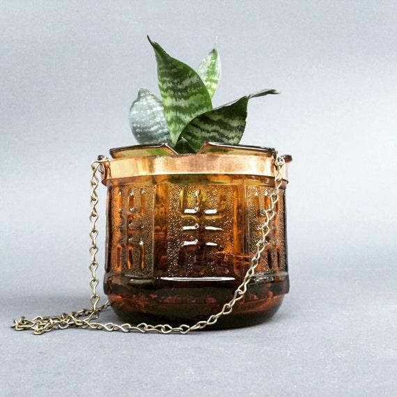 Vintage Hanging Amber Glass Planter by IrvinaVintage on Etsy