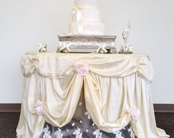 Wedding Cake Table Cloth, Light Champagne Satin Cake Tablecloth