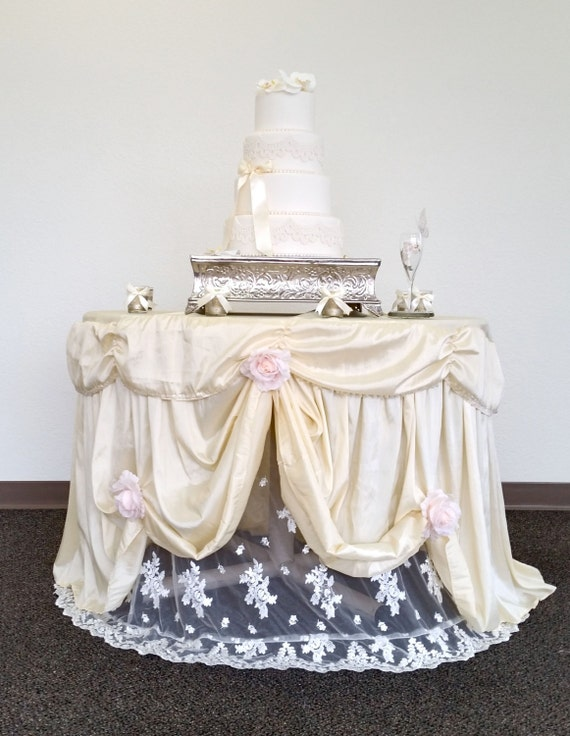 wedding cake table with lights wedding cake table cloth light champagne satin cake 26202