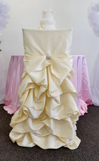 Champagne Wedding Chair Covers Ruffled Wedding Chair Covers