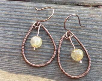 WIRE WRAPPED EARRINGS Rutilated Quartz in Antiqued Copper Handmade