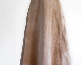 Long Cotton Hand Dyed Long Sleeveless Dress - Naturally Hand Dyed - Eco Dyed - Size S - Light Tan Rosy Color - Beach Dress - Earthy Clothing