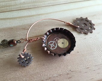 Gears Necklace / Steampunk Necklace / Cycle Necklace / Gears Galore Necklace