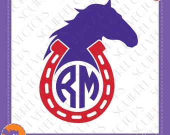 Horse and Horseshoe Monogram Frame  SVG DXF EPS Cutting files