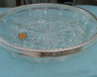 Bleikristall Genuine Lead Crystal Divided Dish...Made in England - Crystal Au Plomb. Price drastically reduced!
