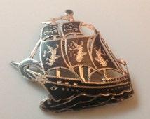 Vintage Siam Sterling Silver Niello Boat Enamel Brooch Pin, Asian Art Deco Jewelry