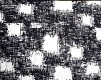 Scribble Pattern Silk Crepe de Chine by the Yard - Pen Sketch Themed Print - Black Squiggle Checkerboard on White - 100% Silk