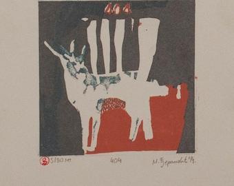 404 - Deer etching