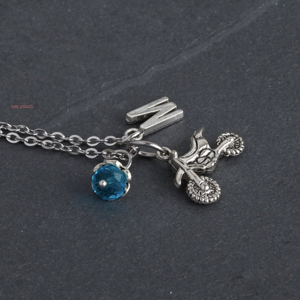 personalized dirt bike necklace with initial and