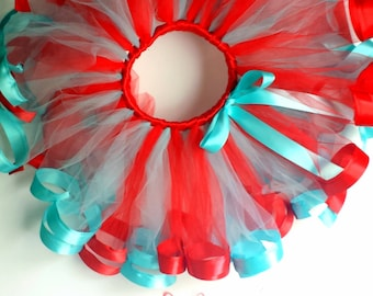Red and Aqua Tutu and Clip Set