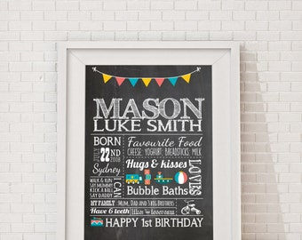 First Birthday Poster - Chalkboard milestone Billboard, Milestone Board Poster, Baby boys 1st birthday party sign, Customised, Printable