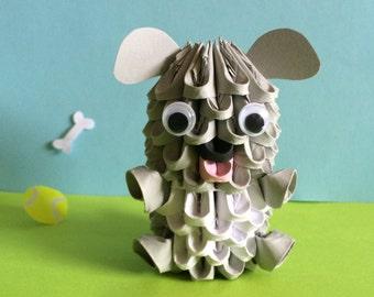 Grey 3D Origami Dog