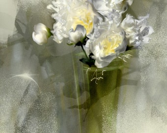 Monet deep Photography, Photo of white peonies, Art floral, ethereal white flowers, sweet atmosphere, shabby chic, cottage decor.