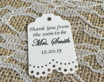 Wedding- Bridal Shower Thank you Tags- Bridal Shower Favor Thank You Tags
