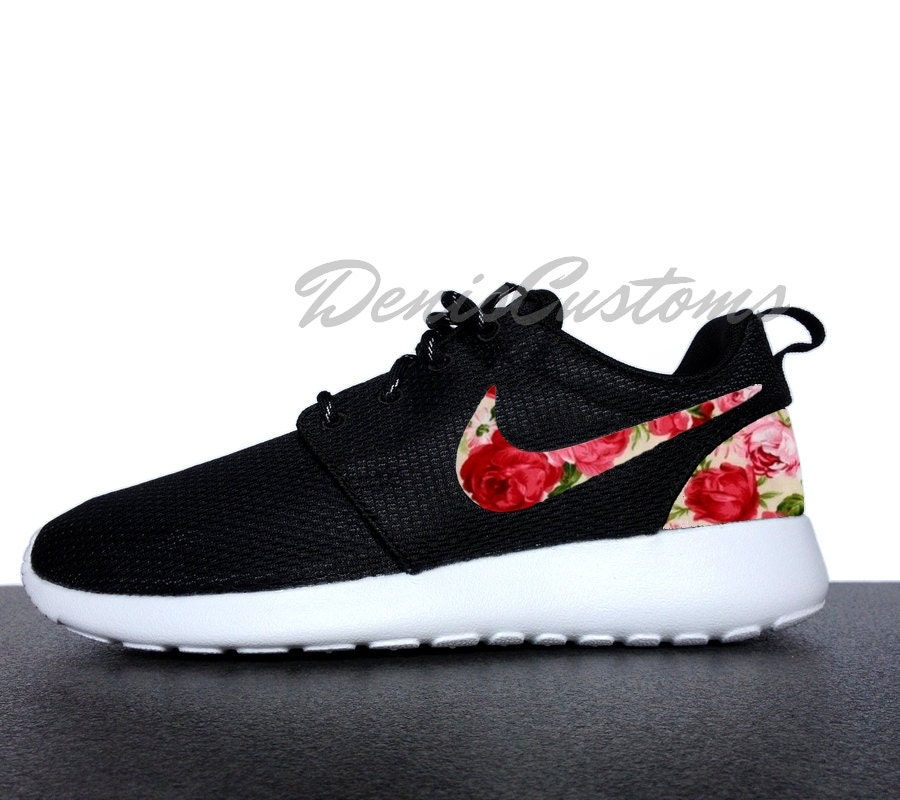 nike roshe run one black with custom pink red rose by. Black Bedroom Furniture Sets. Home Design Ideas