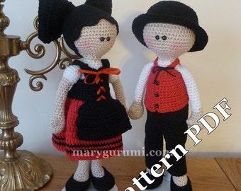 Pattern, pattern, tutorial of amigurumi, dolls crochet couple of Alsatians