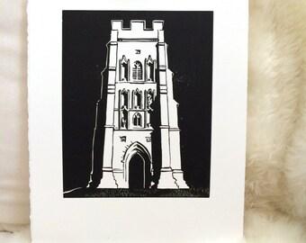 St. Michael on the Tor Linocut Print, Glastonbury Tor Linoleum Block Print, Unframed