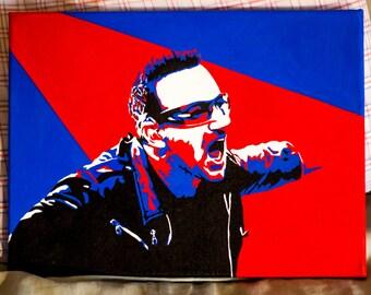 Bono - Hand Painted Pop Art Canvas