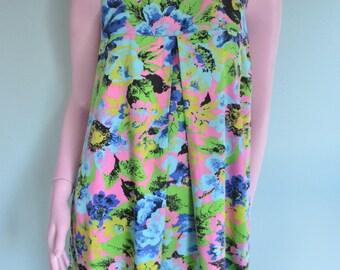 SALE Vintage 1960's Floral A-Line Shift Dress
