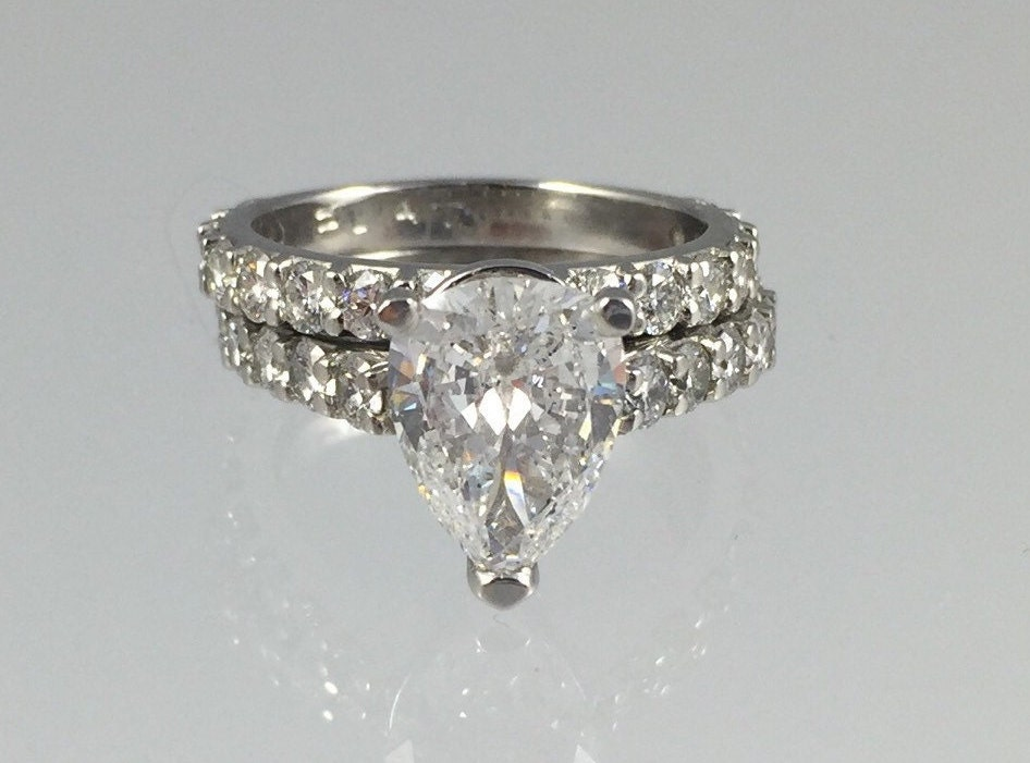 Platinum 2 20Ct Teardrop Cut Diamond Engagement Ring with
