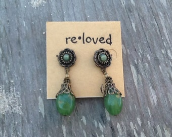 Vintage Emerald Green Stone & Bronze Floral Studded Back Drop Earrings