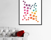 Modern Art Print Wall Abstract Digital Download Art Geometric Instant Download Printable Colourful Squares Print Art Home Decor Pattern