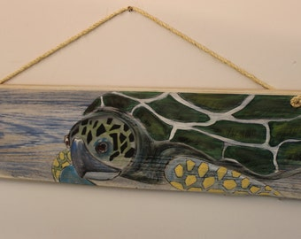 "Sea Turtle - Handpainted ""sea turtle"" on distressed look cypress plank with sisal rope hanger."