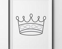 Crown, Art Print, Black and White Art Print, Wall Art Print, Office Decor, Nursery Art, Crown Art Print, Printable Crown
