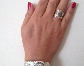 Bracelet , Ring, Copper Bracelet, Copper Ring, Silvercolor  Bracelet, Silvercolor Ring, Handmade Bracelet, Handmade Ring, Gift for  Her