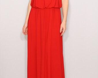 Red dress Summer Maxi dress Bridesmaid dress