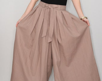 Linen pants Women Taupe pants Wide leg pant skirt