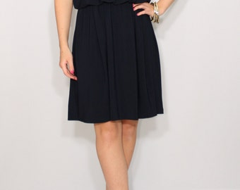 Short navy dress Bridesmaid dress Spaghetti strap dress