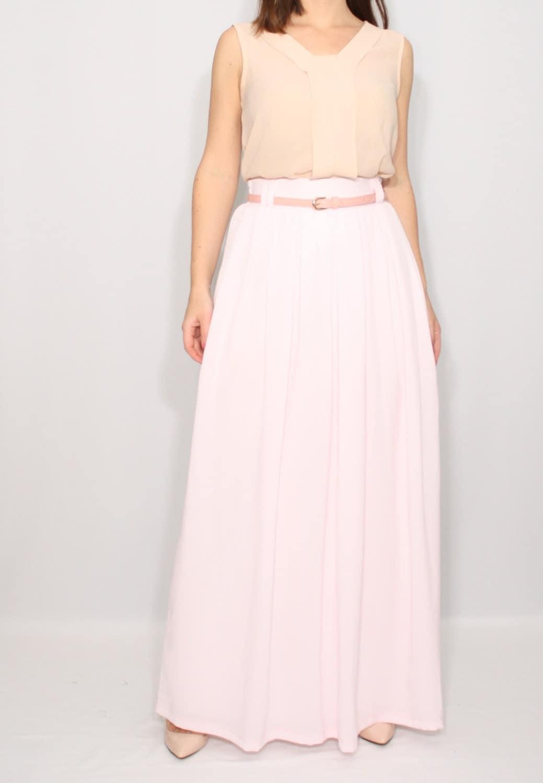 pale pink skirt skirt chiffon maxi skirt high by