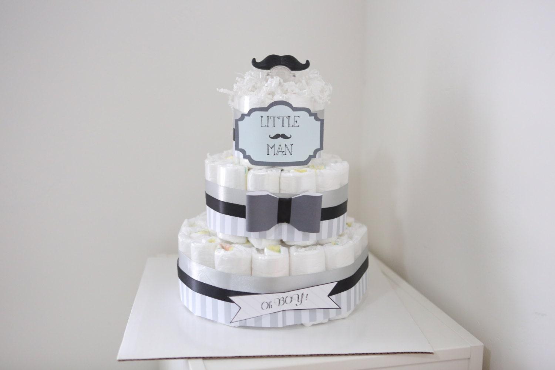 Little Man Mustache Diaper Cake For Baby Boy Baby Shower