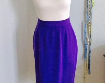 Vintage Silk Skirt in Bright Purple