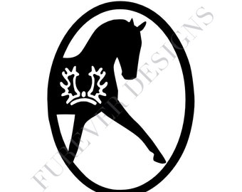 Trakehner Warmblood Dressage Oval Vinyl Decal