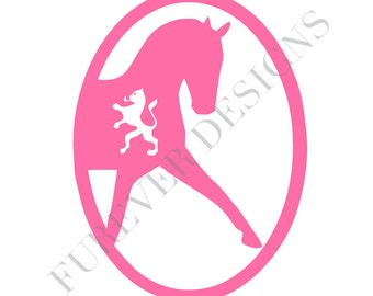 Dutch Warmblood Dressage Oval Vinyl Decal