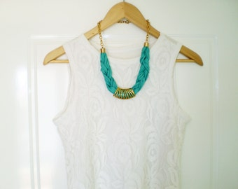 tshirt necklace teal necklace chunky necklace blue necklace green necklace statement jewelry statement necklace tshirt jewelry free shipping