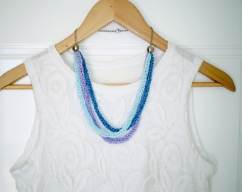 knitted necklace blue boho necklace ombre knit necklace lilac statement jewelry chunky necklace knit jewelry aqua necklace free shipping