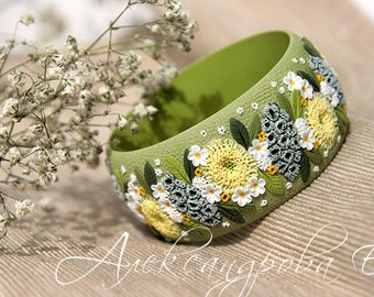 Polymer clay bangle with a flowers and leaves - April meadow - Green yellow white bracelet - Floral wide bangle