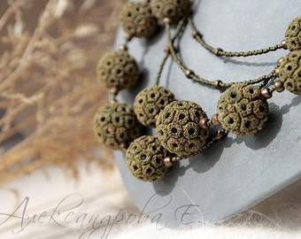Beaded multi strand necklace - Mustard and green colors - Polymer clay necklace - Rustic - Round beads