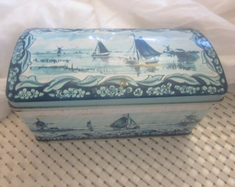BLUE TIN BOX Kitchen Storage Container. With Lid