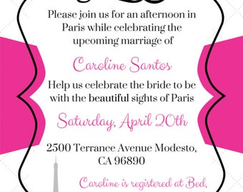 Afternoon in Paris Bridal Shower Invitation Template