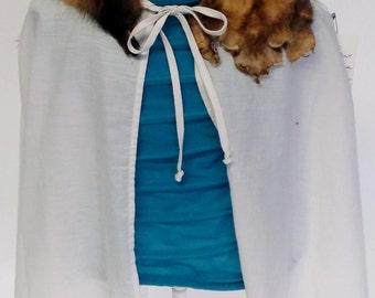 Medieval Kids cloak, short, white cotton, whole fitch collar #KCLK042