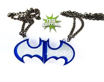 Best fiends necklace! Friendship necklace! Two Piece Batman Necklace! Blue / Mirror colors! Batman logo! SuperHero Necklace!