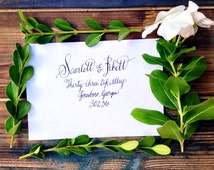"Wedding Calligraphy Envelope Addressing/ Save the date Calligraphy Envelope Addressing/ Hand Lettered/Bridal Shower ""Scarlett O'Hara"" Style"