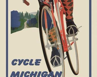 Bike Michigan Sport American Bicycle Travel Tourism Vintage Poster Repro FREE SHIPPING