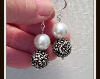 Special Occasion Earrings, White Pearl & Antique Silver Earrings