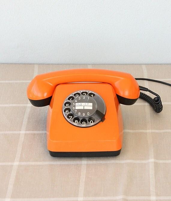 vintage rotary phone orange and black dial phone 1970 39 s. Black Bedroom Furniture Sets. Home Design Ideas