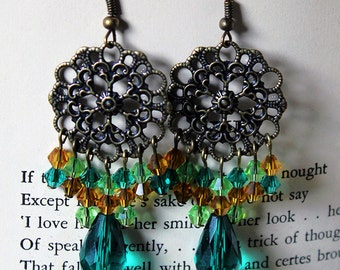 Green Yellow and Bronze Chandelier Earrings